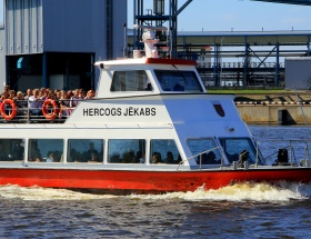 Pleasure boat Hercogs Jekabs, river Venta, sea gate, Hercogs Jekabs departure schedule, ticket prices, the Freeport of Ventspils