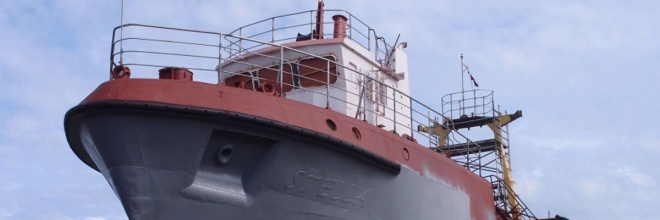 The Freeport of Ventspils, shipyard, Ship repair and metalworking services, by Fisherman company Grifs Ltd. and company Sarkanā bāka KRC Ltd., lifting the ship in dock and inspection, hull cleaning, painting and processing of underwater parts